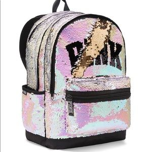 Iridescent Reversible Bling Backpack VS Pink Bag